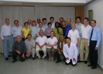 Dr Toshikatsu Yamamoto with participants at a seminar for doctors at Miyazaki, Japan, in October 2005.